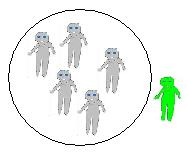 Alien outside circle