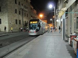 Jerusalem Light Railway at night