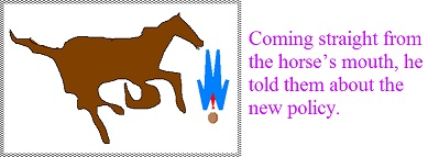 Coming straight from the horse's mouth, he told them about the new policy.