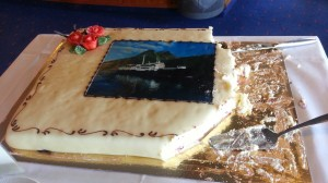 This cake appeared almost every afternoon to celebrate the MS Lofoten's 50th anniversary