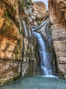 Hidden waterfall at Nahal Arugot