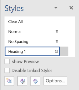Styles Box in Word